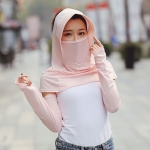 Summer Outdoor Ice Silk Headscarf Shawl Face Mask Multi-functional Sun Protection Equipment(Flesh Color)