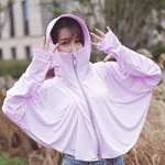 Summer Outdoor Ice Silk Zipper Sun-proof Clothing Headscarf Suit Protection Equipment(Purple)