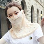 Summer Outdoor Floral Ice Silk Sunshade Face Mask Sun-proof Shawl(Beige)