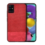 For Galaxy A71 Shockproof Splicing PU + Cloth Texture PC + TPU Protective Case(Red)