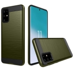 For Galaxy S20+ Brushed Texture Shockproof Rugged Armor Protective Case(Army Green)