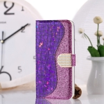 For Galaxy S20 Ultra Laser Glitter Powder Matching Crocodile Texture Horizontal Flip Leather Case with Card Slots & Holder(Purple)