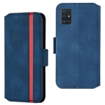 For Galaxy A51 Retro Frosted Oil Side Horizontal Flip Case with Holder & Card Slots(Blue)