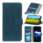 For OnePlus 8 Crocodile Texture Horizontal Flip PU Leather Case with Holder & Card Slots & Wallet(Dark Green)