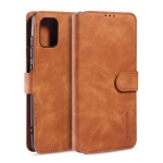 For Galaxy A51 DG.MING Retro Oil Side Horizontal Flip Case with Holder & Card Slots & Wallet(Brown)