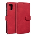 For Galaxy A71 DG.MING Retro Oil Side Horizontal Flip Case with Holder & Card Slots & Wallet(Red)