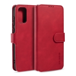 For Galaxy S20 DG.MING Retro Oil Side Horizontal Flip Case with Holder & Card Slots & Wallet(Red)