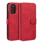For Huawei Honor V30 DG.MING Retro Oil Side Horizontal Flip Case with Holder & Card Slots & Wallet(Red)