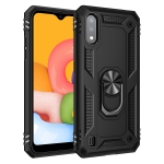 For Galaxy A01 Shockproof TPU + PC Protective Case with 360 Degree Rotating Holder(Black)