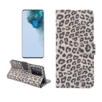 For Galaxy S20 Ultra Leopard Pattern Horizontal Flip Leather Case with Holder & Card Slots(Brown)