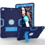For iPad 4 / 3 / 2 Silicone + PC Protective Case with Stand(Light Blue + Dark Blue)