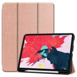 For iPad Pro 11 inch 2020 Custer Pattern TPU Smart Tablet Holster with Sleep Function & Tri-Fold Bracket & Pen Slot(Rose Gold)