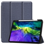 For iPad Pro 11 inch 2020 Fabric Denim TPU Smart Tablet Leather Case with Sleep Function & Tri-Fold Bracket & Pen Slot(Blue)