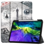 For iPad Pro 11 inch 2020 Painted TPU Smart Tablet Holster With Sleep Function & Tri-Fold Bracket & Pen Slot(Retro Tower)