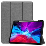 For iPad Pro 12.9 inch 2020 Fabric Denim TPU Smart Tablet Leather Case with Sleep Function & Tri-Fold Bracket & Pen Slot(Gray)