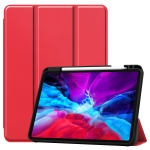 For iPad Pro 12.9 inch 2020 Custer Pattern Pure Color TPU Smart Tablet Holster with Sleep Function & Tri-Fold Bracket & Pen Slot(Scarlet)