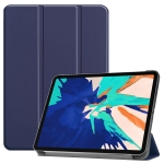 For iPad Pro 12.9 inch 2020 Custer Pattern TPU Smart Tablet Holster with Sleep Function & Tri-Fold Bracket & Pen Slot(Navy)