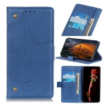For OPPO Find X2 Copper Buckle Retro Crazy Horse Texture Horizontal Flip Leather Case with Holder & Card Slots & Wallet(Blue)