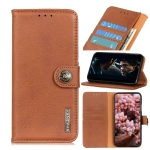 For Galaxy A41 Cowhide Texture Horizontal Flip Leather Case with Holder & Card Slots & Wallet(Brown)