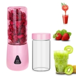 Portable Mini 380ml Electrical Fruit Juicer Household Electric Juice Cup (Pink)