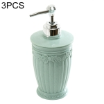 3 PCS Round Press Style Carved Shower Gel Hand Soap Fill Empty Bottle (Baby Blue)