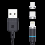 ROCK G10 1m 3A 3 in 1 USB to 8 Pin + USB-C / Type-C + Micro USB Magnetic Braided Fast Charge & Syn Cable (Black)