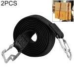 2 PCS 2m Elastic Strapping Rope Packing Tape for Bicycle Motorcycle Back Seat with Hook (Black)