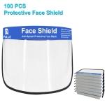 100 PCS Anti-Saliva Splash Anti-Spitting Anti-Fog Anti-Oil Protective Face Shields Mask with Elastic Band, English Words