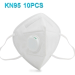 10 PCS KN95 n95 Breathable Respirator Dustproof Protection Antiviral Anti-fog Doctor Nurse Face Mask with Breath-Valve Filter