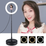 PULUZ 10.2 inch 26cm USB 3 Modes Dimmable Dual Color Temperature LED Curved  Ring Vlogging Selfie Photography Video Lights with Folding Desktop Holder & Phone Clamp (Black)