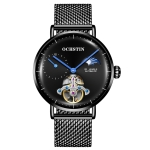 OCHSTIN 6121 Flywheel Mechanical Watch Fashion Hollow Full Automatic Mechanical Watch Business Men Watch Stainless Steel Watch  Waterproof Watch(Black)