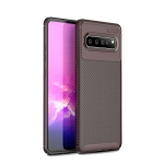 For LG V60 ThinQ 5G Carbon Fiber Texture Shockproof TPU Case(Brown)