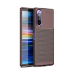 For Sony Xperia 1 II Carbon Fiber Texture Shockproof TPU Case(Brown)