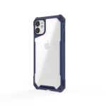 For iPhone 11 Transparent PC + TPU Full Coverage Shockproof Protective Case(Navy Blue)