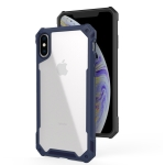 For iPhone XR Transparent PC + TPU Full Coverage Shockproof Protective Case(Navy Blue)