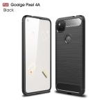 For Goolge Pixel 4a Brushed Texture Carbon Fiber Shockproof TPU Case(Black)