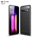 For LG V60 ThinQ Brushed Texture Carbon Fiber Shockproof TPU Case(Black)