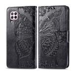 For Huawei Nova 6 SE Butterfly Love Flower Embossed Horizontal Flip Leather Case with Bracket / Card Slot / Wallet / Lanyard(Black)