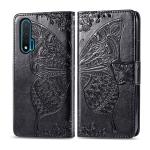 For Huawei Nova 6 Butterfly Love Flower Embossed Horizontal Flip Leather Case with Bracket / Card Slot / Wallet / Lanyard(Black)