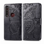 For Moto G8 Plus Butterfly Love Flower Embossed Horizontal Flip Leather Case with Bracket / Card Slot / Wallet / Lanyard(Black)