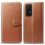 For Huawei P40 Pro Retro Solid Color Leather Buckle Phone Case with Lanyard & Photo Frame & Card Slot & Wallet & Stand Function(Brown)