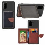 For Galaxy S20 Leaf Buckle Litchi Texture Card Holder PU + TPU Case with Card Slot & Wallet & Holder & Photo Frame(Black)