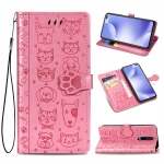 For Xiaomi Redmi K30 Cute Cat and Dog Embossed Horizontal Flip PU Leather Case with Holder / Card Slot / Wallet / Lanyard(Pink)