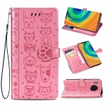 For Huawei Mate 30 Pro Cute Cat and Dog Embossed Horizontal Flip PU Leather Case with Holder / Card Slot / Wallet / Lanyard(Pink)