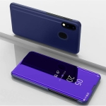 For Galaxy A31 Plated Mirror Horizontal Flip Leather Case with Holder(Purple Blue)