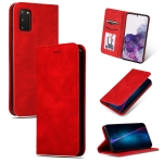 For Galaxy S20 Retro Skin Feel Business Magnetic Horizontal Flip Leather Case(Red)