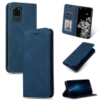For Galaxy S20 Ultra Retro Skin Feel Business Magnetic Horizontal Flip Leather Case(Navy Blue)