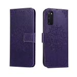 For Galaxy S20 Embossed Kaleidoscope Flower Horizontal Flip Leather Case with Holder & Card Slots & Wallet(Purple)
