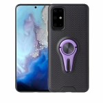 For Galaxy S20 Plus Y-Shaped Non-slip Texture TPU Case with Magnetic Rotating Car Holder(Purple)
