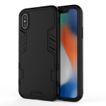 For iPhone XS Max 3 in 1 Full Coverage Shockproof PC + TPU Case(Black)